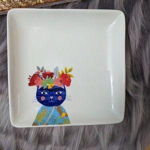Magenta/Rae Dunn Ceramic Cat Floral Trinket Tray